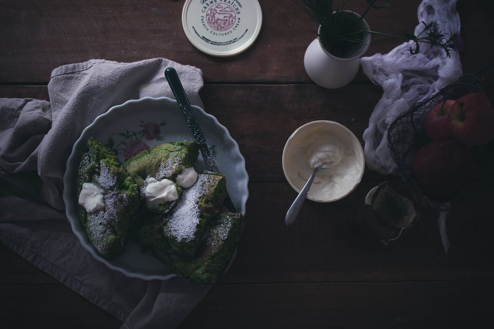 Green Velvet Pancakes with Sweet Creme Fraiche | by fit for the soul
