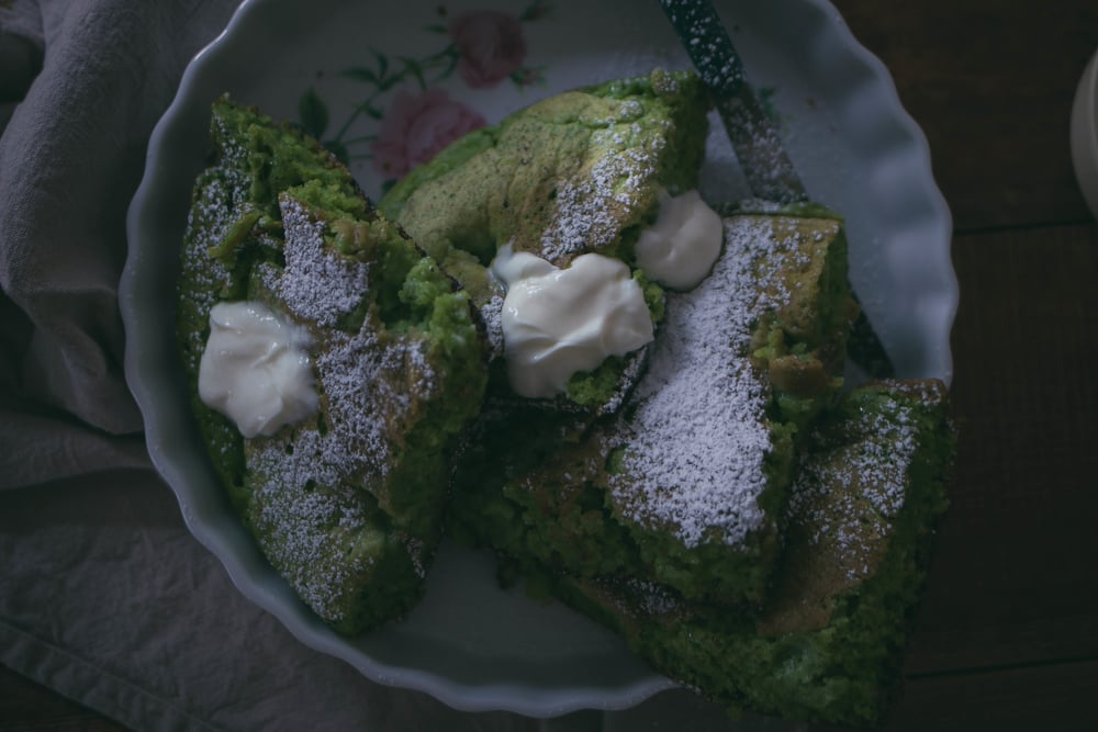 fluffy green velvet pancakes with sweet Bellwether Farms creme fraiche | by fit for the soul