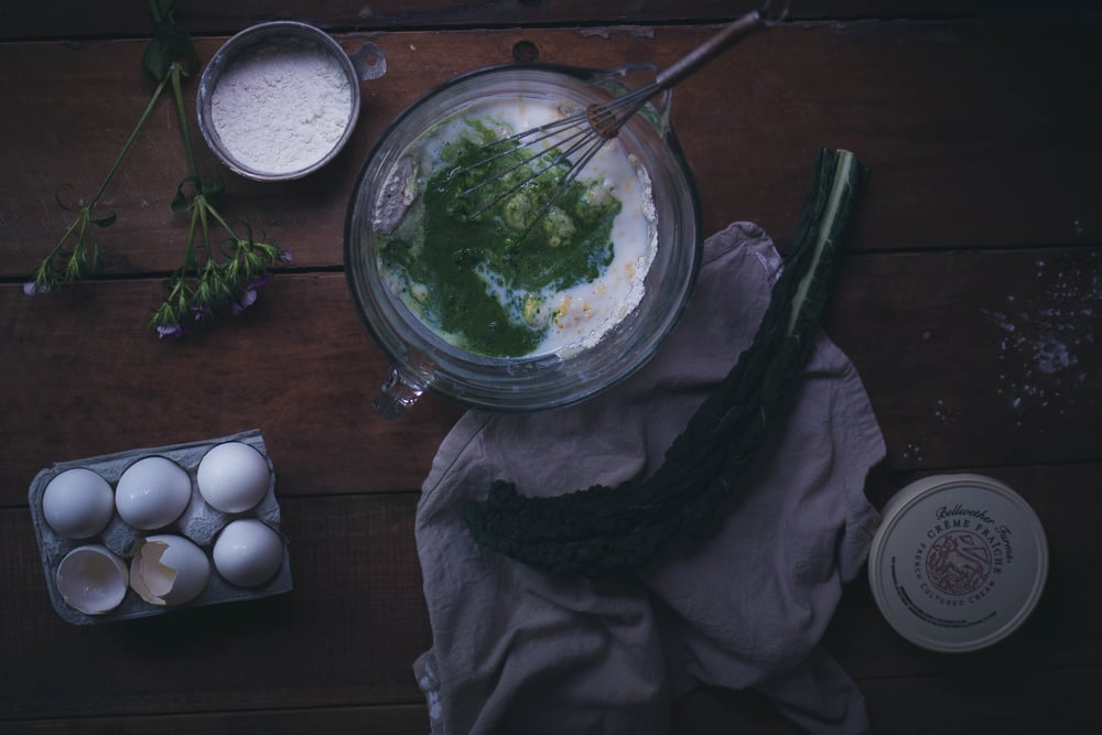 Thick green velvet pancakes with Bellewhether creme fraiche | by fit for the soul
