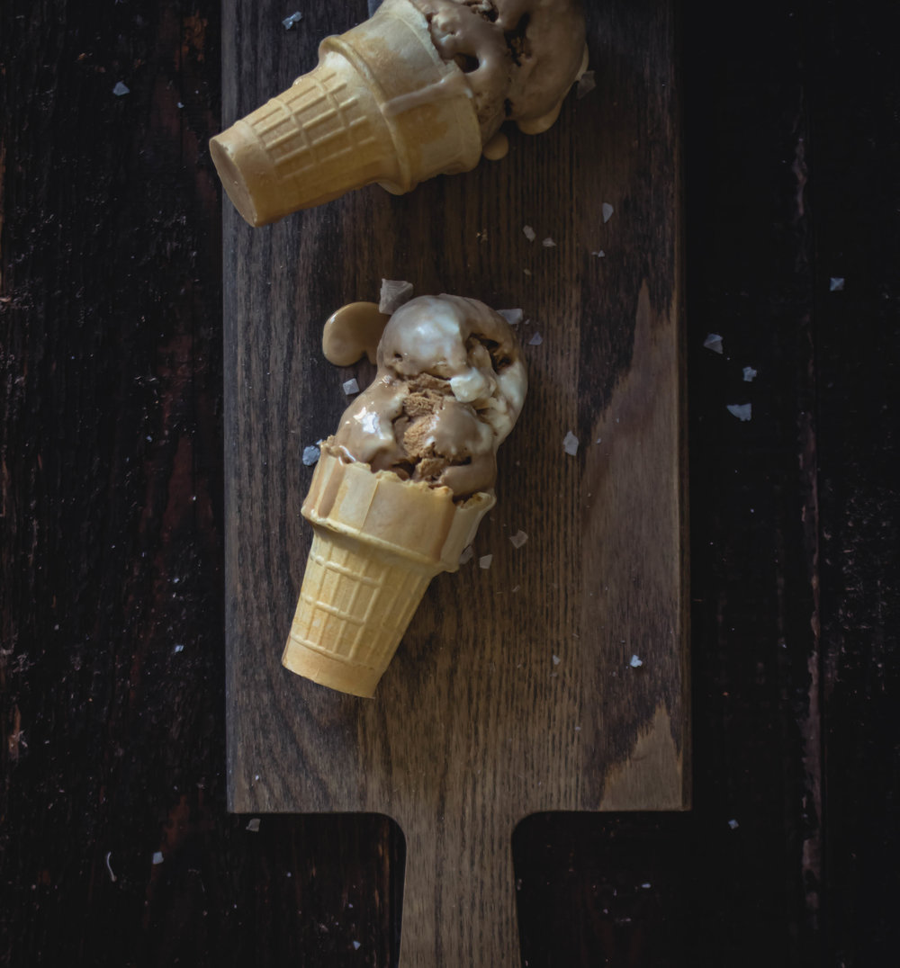 no-churn sea salt coffee ice cream recipe--easy step by step | from scratch, mostly