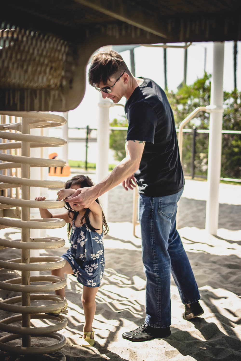 Daddy and Selah at Santa monica Beach playground | from scratch, mostly