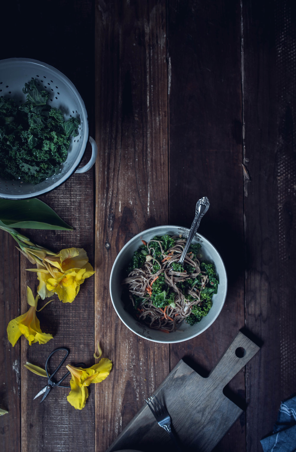 Sweet ginger kale and noodle salad recipe | from scratch, mostly