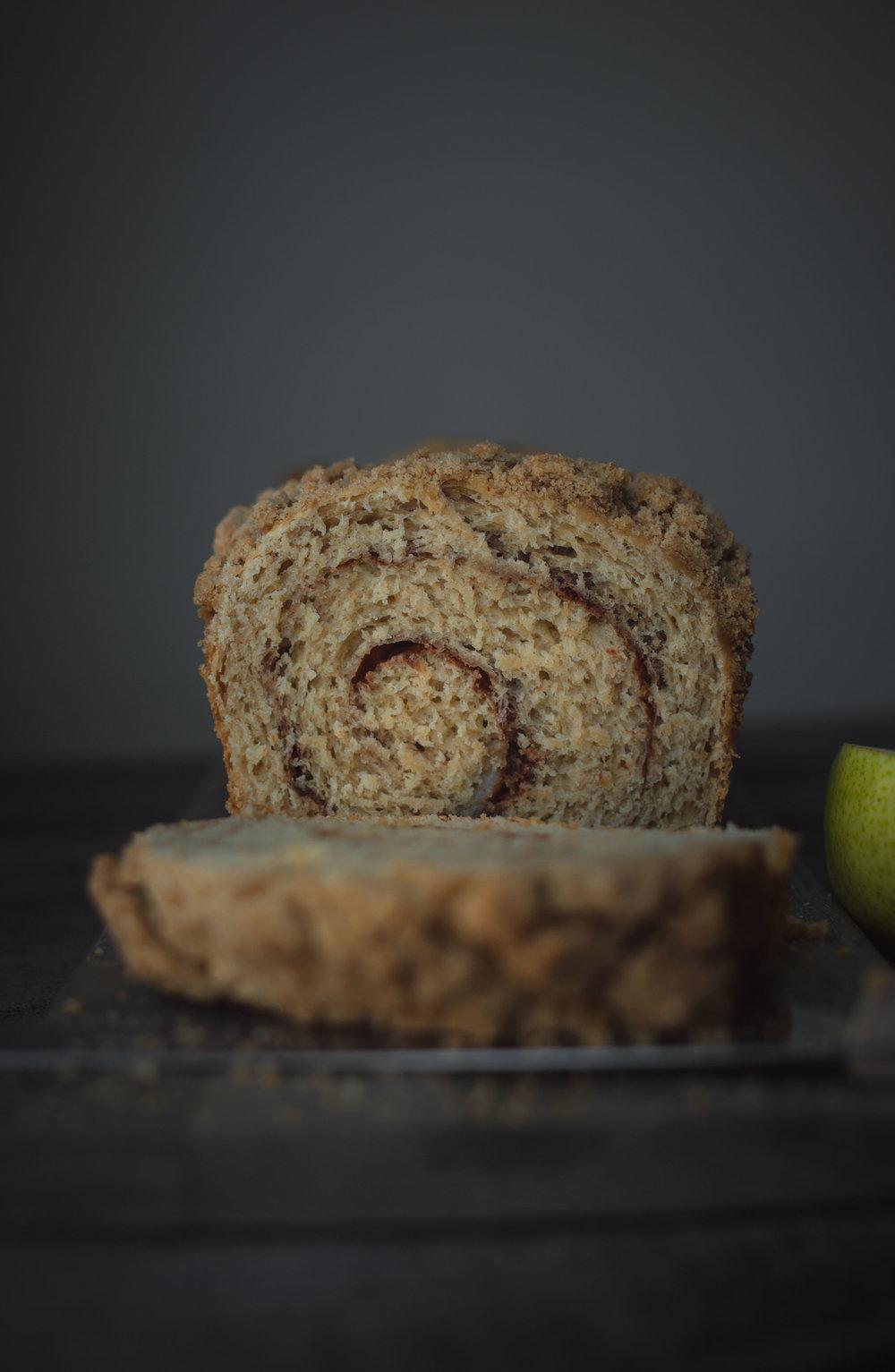 Pear cinnamon swirl bread--yeast bread series #MuchBreaderTogether | from scratch, mostly