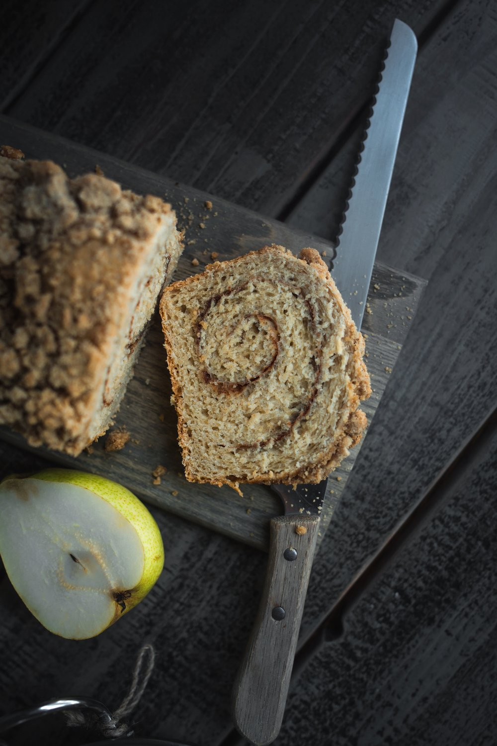 Pear cinnamon swirl bread with crumb top step by step--yeast bread series #MuchBreaderTogether | from scratch, mostly