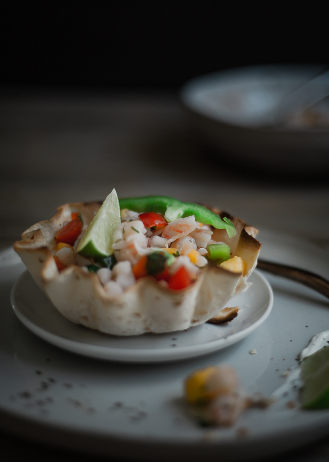 Shrimp ceviche with nectarine recipe, and how to make a taco bowl easy at home | from scratch, mostly blog