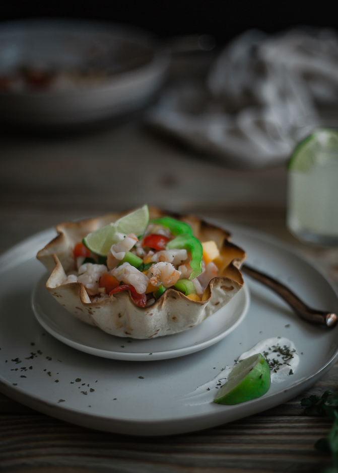 Shrimp ceviche with nectarine recipe, plus how to make taco bowls at home easy | from scratch, mostly blog