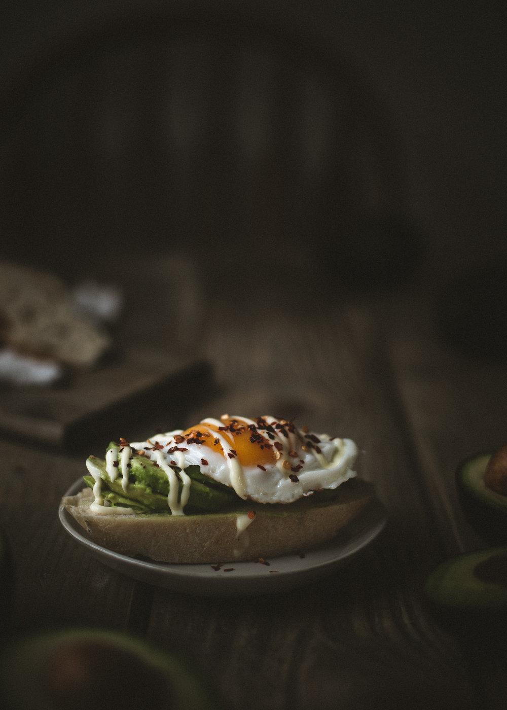 avocado toast with kewpie mayo and eggs