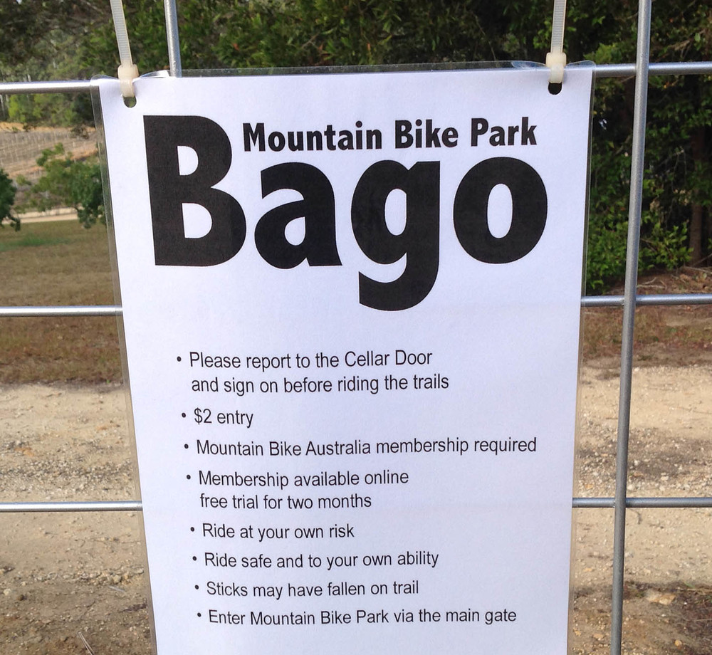Bago mountain bike park sign