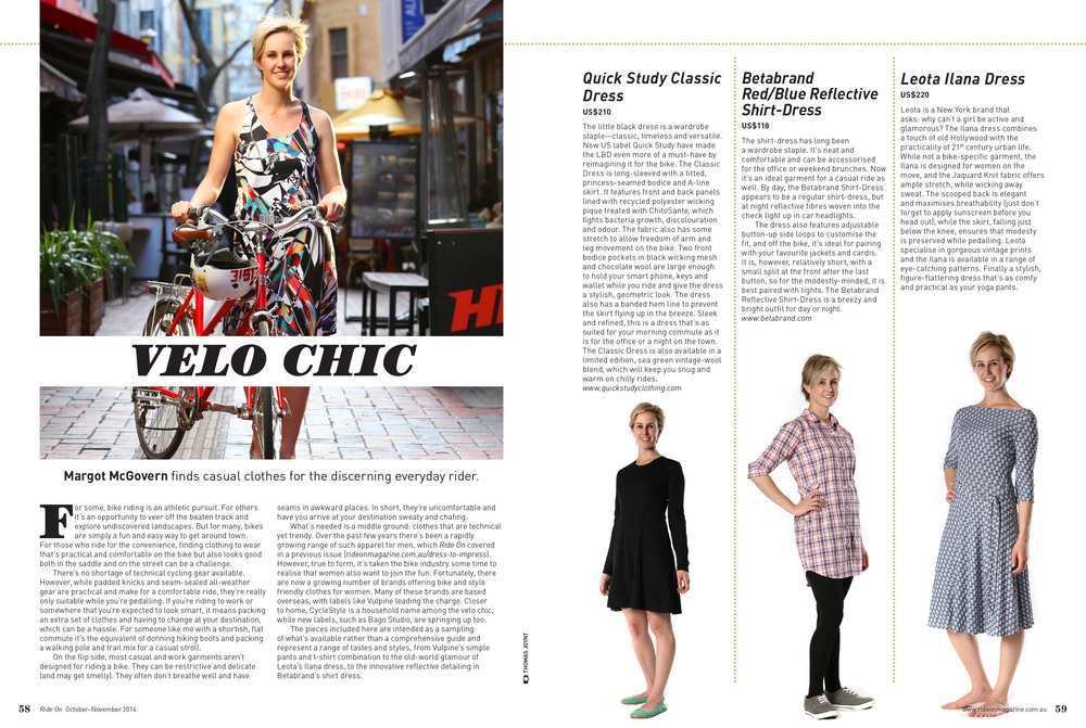 Velo Chic. Ride On October-November 2014. by Margot McGovern