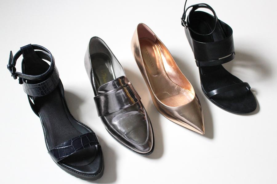 Alexander Wang Jade sandal, 3.1 Phillip Lim Quinn Loafer, Sergio Rossi kitten heel, Alexander Wang Adina sandal