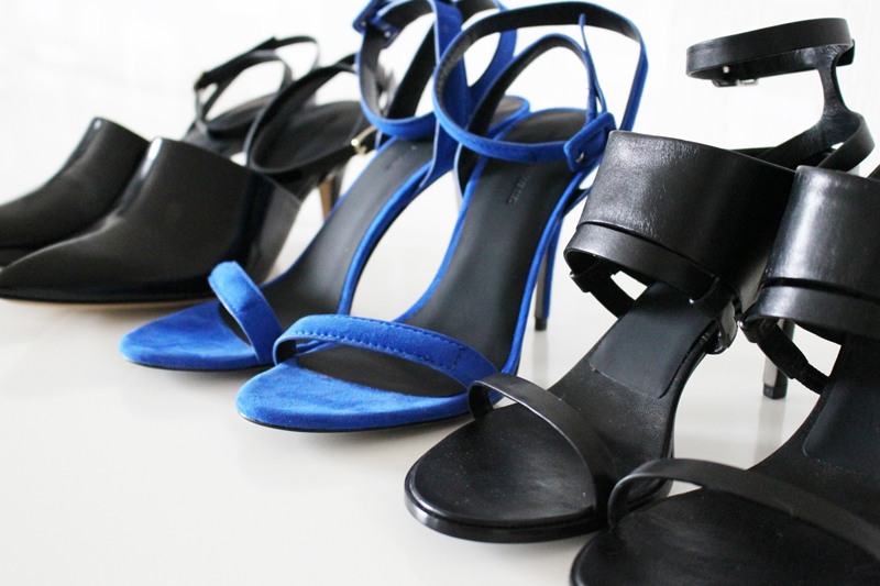 Alexander Wang shoes: Inga, Antonia and Adina sandals.   Photography by NSM.