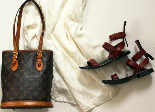 WoahStyle.com | White Dress Casual Styling, Alexander Wang Annette sandal, vintage LV petit Monogram bag