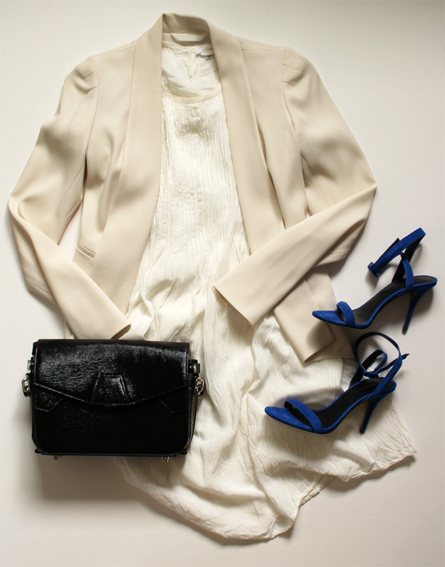 WoahStyle.com | White Dress Styling, an evening out, Aritzia & Alexander Wang Triofold bag