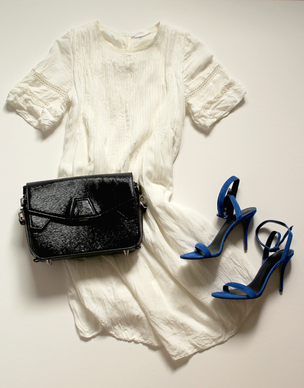 WoahStyle.com | Alexander Wang Triofold bag, royal Antonia sandal & Arizia Sonore Dress