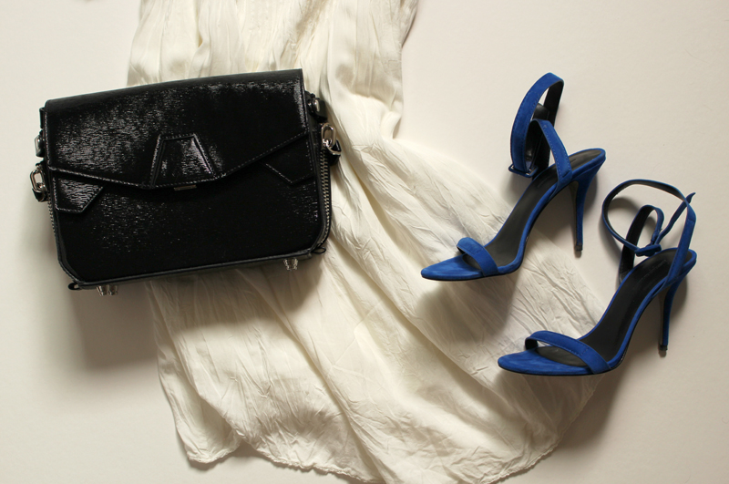 WoahStyle.com | Alexander Wang patent leather Triofold bag & Royal blue Antonia sandal