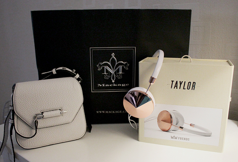 WoahStyle.com | Mackage white Novaki bag & Frends Taylor Gold headphones