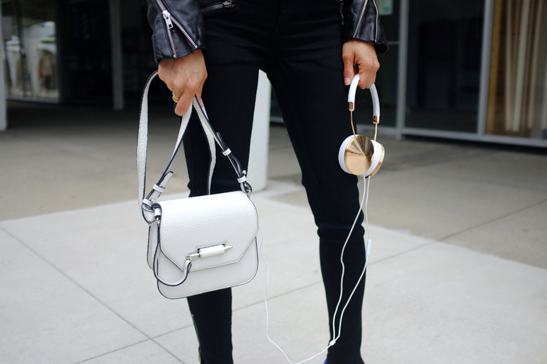 WoahStyle | Mackage Novaki, Frends Taylor Gold headphones, Rag & Bone, Aritzia, Alexander Wang