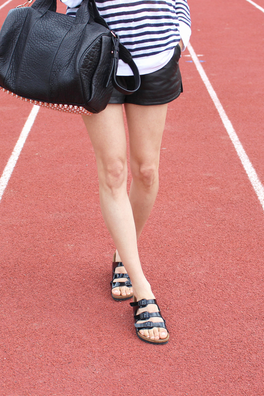 WoahStyle.com | Alexander Wang, Rocco, Mackage Leather Shorts, Patent Leather Birkenstocks streetstyle