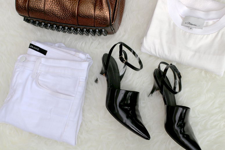 WoahStyle.com | Alexander Wang Bronze Rocco and Inga shoe, Jbrand white jeans, 3.1 Phillip Lim shirt