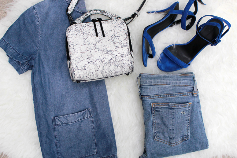 WoahStyle.com | Denim on denim street style, 3.1 Phillip Lim small white Ryder bag, Alexander Wang Antonia sandals, Rag & Bone jeans, Club Monaco chambray smock