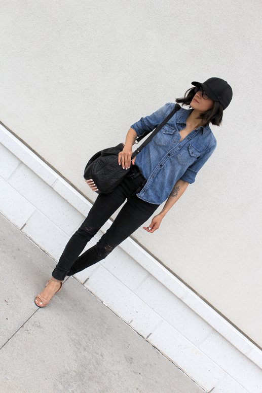 WoahStyle.com | Street Style Givenchy Tan Suede Shark Lock Sandal, Rag & Bone jeans, Alexander Wang Rocco and chambray top