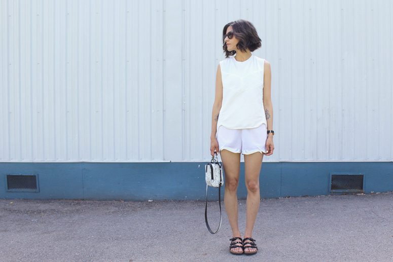 WoahStyle.com | 3.1 Phillip Lim tank, Stella McCartney white shorts and 3.1 Phillip Lim Small Ryder Bag, Birkenstock streetstyle