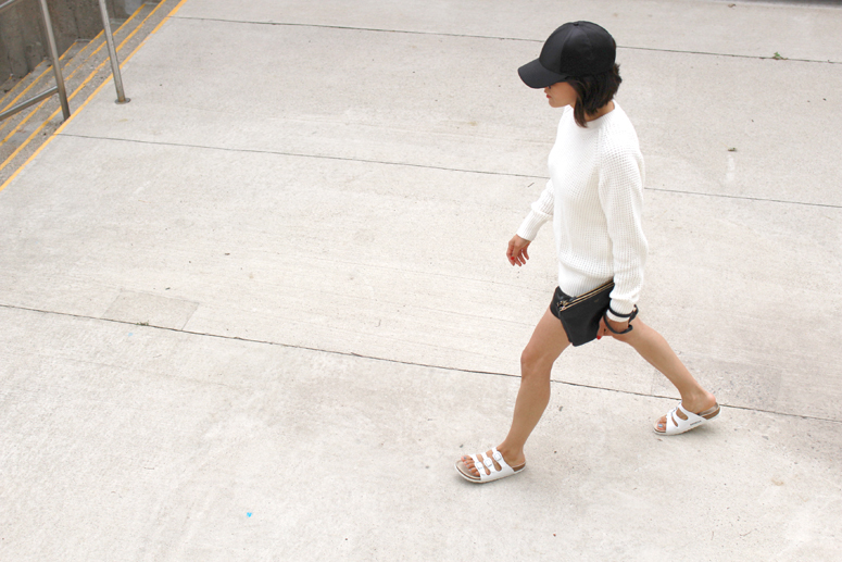 WoahStyle.com | Acne Studios knitwear, Mackage leather shorts, Celine Trio, white Birkenstocks streetstyle