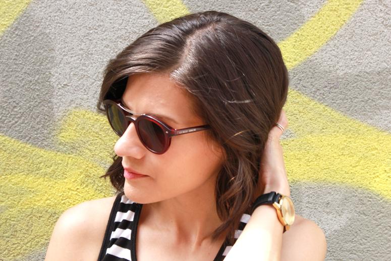 WoahStyle | Short hair & round Giorgio Armani sunglasses