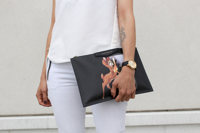 WoahStyle.com | Givenchy Anitgona Bambi Pouch, Nixon watch, 3.1 Phillip Lim top, Rag & Bone denim street style