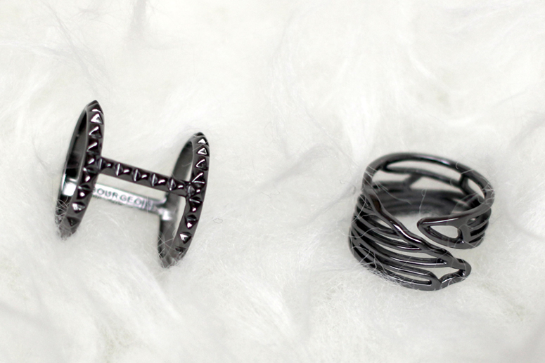 WoahStyle.com | House of Bourgeois Rockstud ring and Dragonfly Wing ring - sterling silver with black rhodium plating