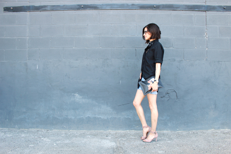 WoahStyle.com | Givenchy Bambi & Shark Lock with denim shorts. Street Style