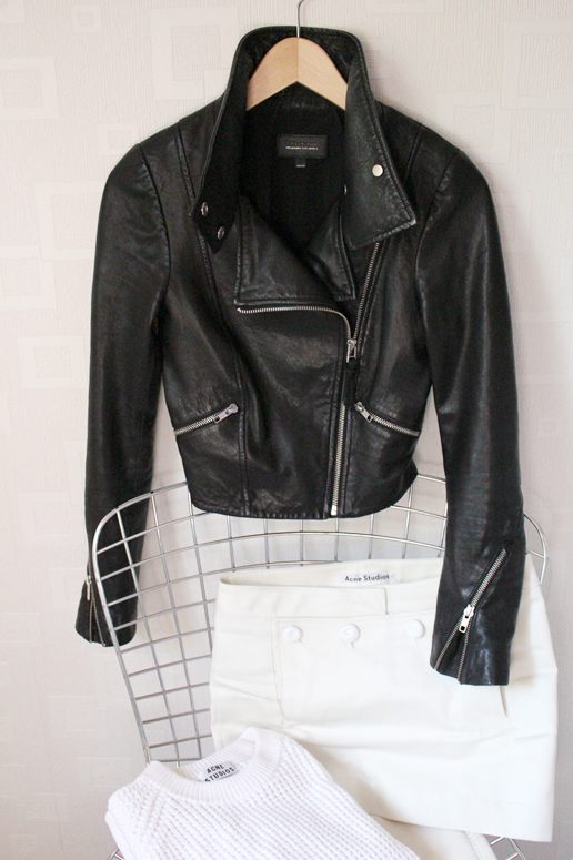 WoahStyle.com | Mackage leather jacket, Acne Studios Dance skirt and Pineapple cotton sweater #fallforus