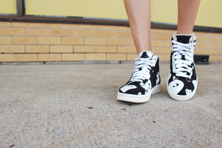 WoahStyle.com | Converse x Comme des Garçons black heart print high top sneakers