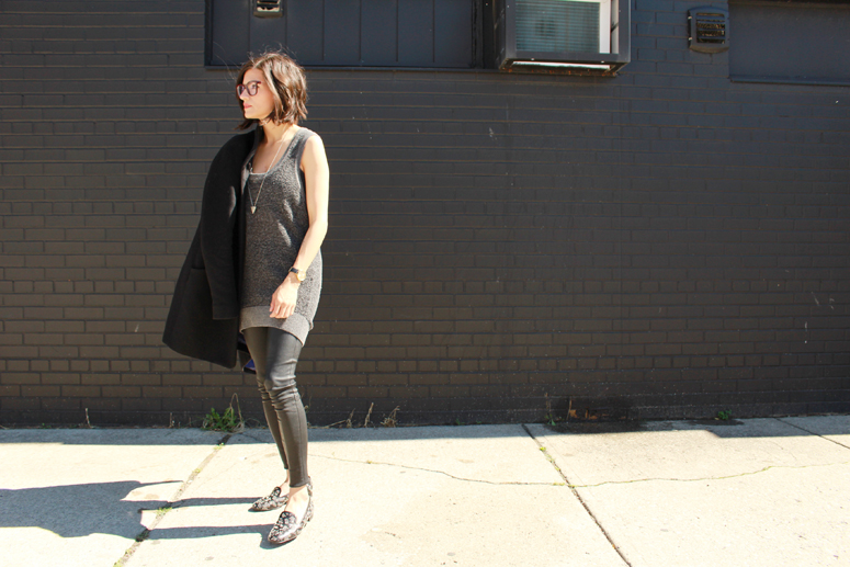WoahStyle.com | Aritzia Cocoon coat, Alexander Wang knit tunic, Mackage leather leggings and white Novaki bag, Saint Laurent babycat loafers #fallforus #streetstyle