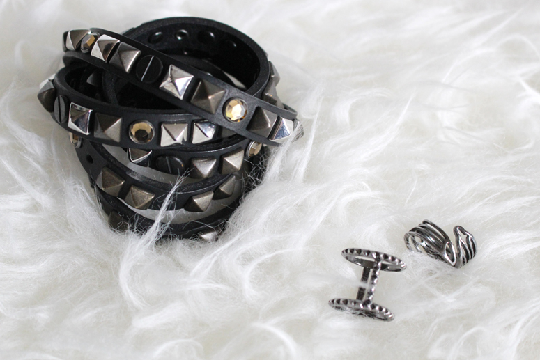 WoahStyel.com | Studded belt and black rhodium rings from House of Bourgeois
