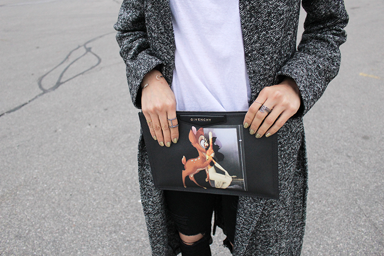 WoahStyle.com | The Free Island Hello Monday tee & super skinny jeans, Aritzia coat, Givenchy Bambi clutch and House of Bourgeois rings