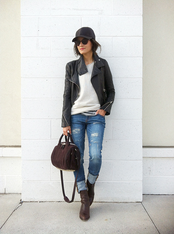 WoahStyle.com | Mackage leather jacket, Aritzia baseball cap and sweater, Alexander Wang Anouck boot & Rockie handbag and Joe Fresh jeans