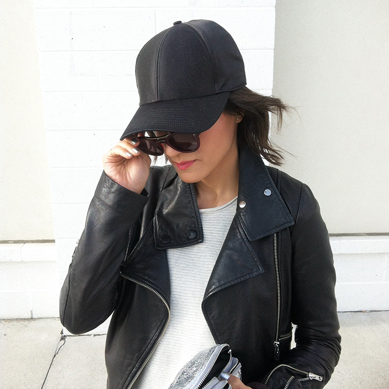 WoahStyle.com | Mackage leather jacket, Aritzia baseball cap and sweater, Armani sunglasses
