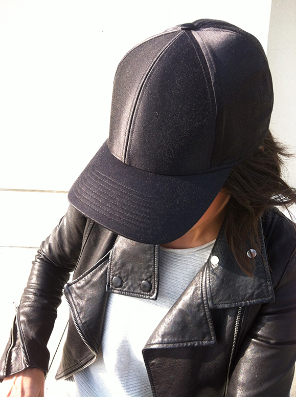 WoahStyle.com | Mackage leather jacket, Aritzia baseball cap and sweater