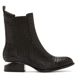 Alexander Wang Black Leather Lizard Embossed Anouk Boots