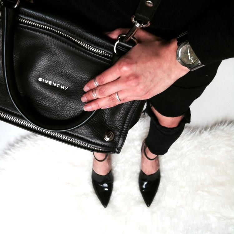 WoahStyle.com | Givenchy small black Pandora bag, The Free Island busted knees skinny jeans, Oak + Fort tshirt dress, Fjord watch,  Alexander Wang Inga kitten heels