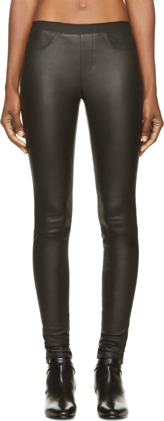 WoahStyle.com | Helmut Lang Black Leather Stretch Leggings Pants