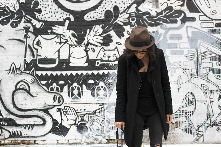 WoahStyle.com | Hat, Aritzia cocoon coat, Mackage leather jacket  #streetstyle