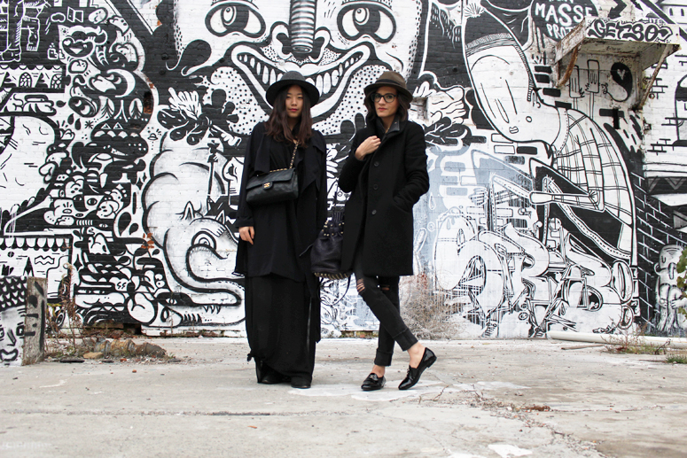 WoahStyle.com with Chantal Li of TheFreeIsland.com | Hat, Aritzia cocoon coat, Mackage leather jacket, Chanel patent leather loafers and Alexander Wang Diego bag #streetstyle