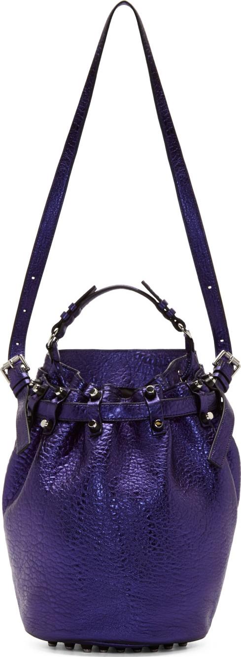 WoahStyle.com | Alexander Wang Nile Blue Metallic Leather Diego Bucket Bag