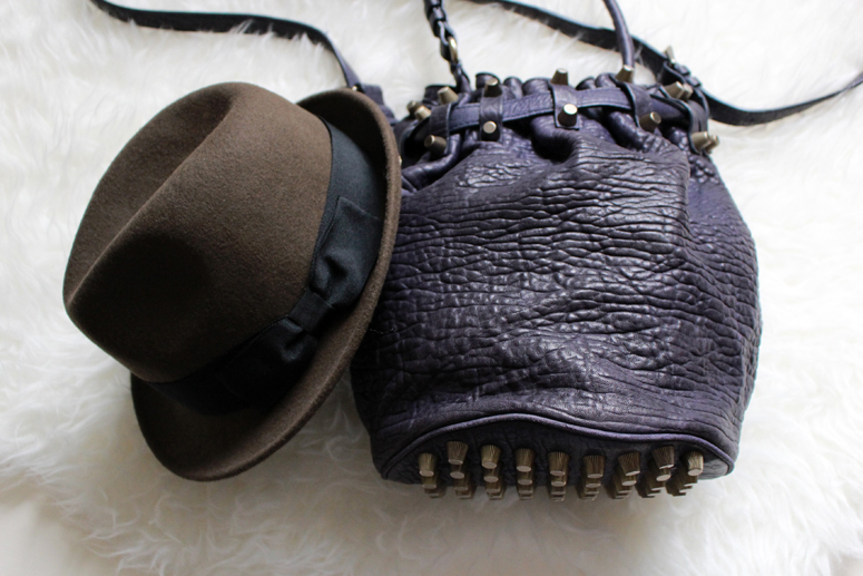 WoahStyle.com | French Connection FCUK brown Tiblry fedora hat, Alexander Wang purple blue Diego bucket bag #accessories