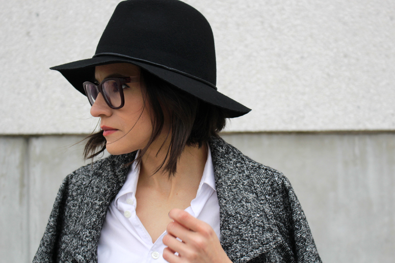 WoahStyle.com | Target wool hat, Chanel glasses, Aritzia Jacoby salt and pepper coat, Comme des Garcons Play white button up shirt.