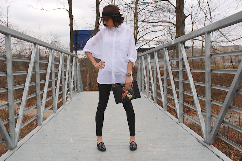 WoahStyle.com | White button down shirt, Mackage leather leggings, Chanel moccasins loafers and Givenchy Bambi pouch #streetstyle