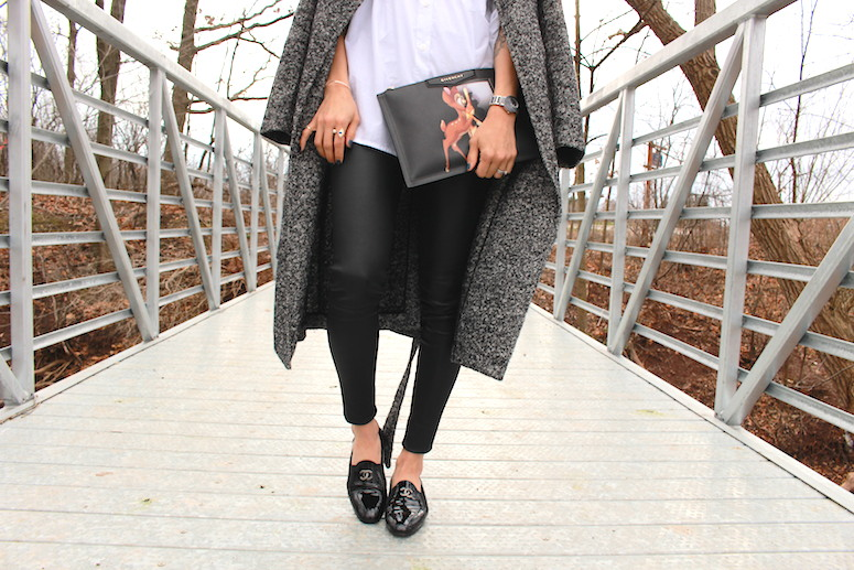 WoahStyle.com | Salt + Pepper coat, White button down shirt, Mackage leather leggings, Chanel moccasins loafers and Givenchy Bambi pouch #streetstyle