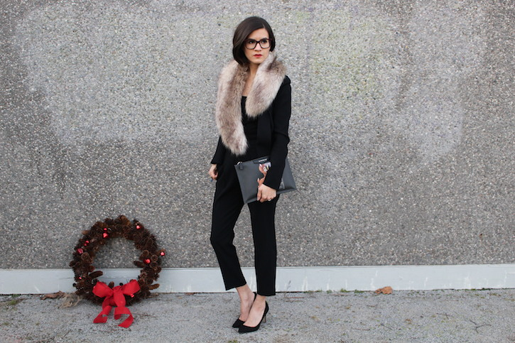 WoahStyle.com | Dressing for the Holidays in a black suit #streetstyle, Givenchy Bambi pouch, fur collar